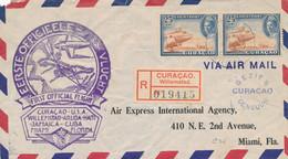 Curacao - 1943 - 2x 25 Cent Luchtpost Op Censored R-LP-cover / Special Flight Van Willemstad Naar Miami / USA - Curazao, Antillas Holandesas, Aruba