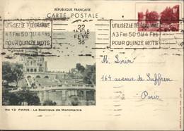 Entier Paris Le Grand Lac Du Bois RF CP Verte Storch G2b Basilique Montmartre CAD 22 FEV 38 Flamme Utilisez Télégramme - Cartes Postales Types Et TSC (avant 1995)