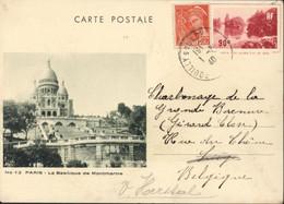 Entier Paris Le Grand Lac Du Bois 90c Rouge N°12 Paris Basilique Montmartre Storch G1B + YT 415 Mercure CAD Pouilly - Cartes Postales Types Et TSC (avant 1995)