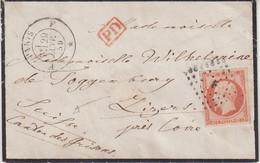 FRANCE : N° 16 . OBL . PARIS LOSANGE F . POUR LA SUISSE . VIGNETTE AU VERSO . 1859 . - 1849-1876: Période Classique