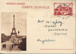 Entier La Conciergerie 90c Rouge RF CP Brun 8 Paris La Tour Eiffel Storch F2c CAD Paris 30 R Diderot 1937 - Cartes Postales Types Et TSC (avant 1995)