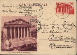 Entier Vue De Paris Sanguine E1e 5 Paris Eglise De La Madeleine CAD Sommières Gard 21 3 39 Pour Baltzi Roumanie - Cartes Postales Types Et TSC (avant 1995)