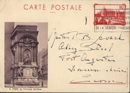 Entier La Conciergerie 90ct Rouge CP Prune Storch F1a Fontaine Molière Pour L'Ecosse 10 6 36 Flamme Chalcographie Louvre - Cartes Postales Types Et TSC (avant 1995)