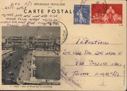 Entier Vues De Paris 90c Rouge + YT 279 CP 3 Pont Place Concorde CAD Paris 96 R Gluck 27 VIII 37 Noir Pour Palestine - Cartes Postales Types Et TSC (avant 1995)