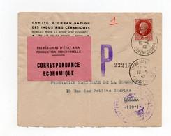 """!!! LETTRE DE VICHY DE 1942 AVEC ETIQUETTE SECRETARIAT D'ETAT A LA PRODUCTION INDUSTRIELLE"""" - Guerra De 1939-45"""