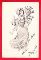 Illust-1021P117  B.K.W.I. Jeune Femme Avec Un Gâteau Dans Les Mains, Cpa Précurseur BE - Andere Illustrators
