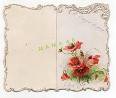 MENU DOUBLE DE 1909 - GAUFRE ET AJOURE - FLEURS - Menus