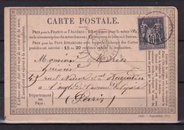 D 146 / SAGE N° 89 SUR CARTE LETTRE - 1876-1898 Sage (Type II)