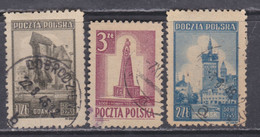 Pologne N° 448 + 450 / 51 O  Les 3 Valeurs Oblitérées, TB - Gebruikt
