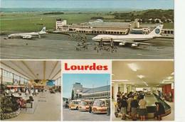 TE 15-(65) AEROPORT TARBES OSSUN LOURDES - CARTE MULTIVUES : PISTE , AEROGARE , BUS NAVETTES - 2 SCANS - Tarbes