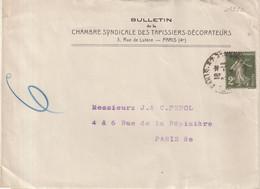 "FRANCE : BANDE DE JOURNAUX . 2 C TYPE SEMEUSE . "" CHAMBRE SYNDICALE DES TAPISSIERS DECORATEURS "" . 1924 . TAXE . - Ohne Zuordnung"