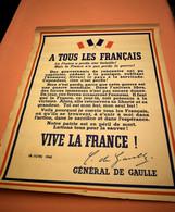 AFFICHE APPEL DU 18 JUIN, GÉNÉRAL DE GAULLE, IMPRIMÉE FIN DE GUERRE - 1939-45