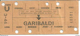 METRO .R A T P - PARIS ,    CARTE  HEBDOMADAIRE ,  GARIBALDI - Europa