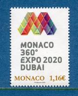⭐ Monaco - YT N° 3224 - Neuf Sans Charnière - 2020 ⭐ - Ungebraucht