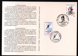 Albertville 92,parcours Flamme Olympique,obliterations Greque Et Francaise Du Passage à Avranches , Lire Description - Briefe U. Dokumente