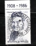 France 2021.Simone De Beauvoir ..Cachet Rond Gomme D'origine - Used Stamps