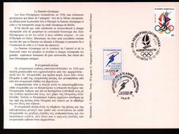 Albertville 92,parcours Flamme Olympique,obliterations Greque Et Francaise  Passage  à Paris , Lire Description - Briefe U. Dokumente