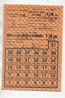Cavignac (33 Gironde) (restriction Rationnement)  Carte De LAIT ENTIER OU STANDART  1944 (PPP27394) - Sin Clasificación