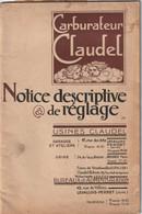 Notice Carburateur Claudel ( Levallois Perret ) - Auto