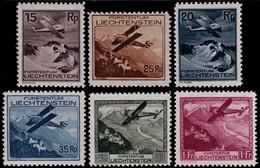 ✔️ Liechtenstein 1930 - Airmail Airplanes - Mi. 108/113 * MH (Luxe) - €640 - Air Post