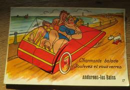 ANDERNOS LES BAINS (33) Carte à Système Dépliant Voiture à Pédales - Andernos-les-Bains