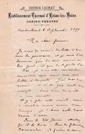 74 EVIAN LES BAINS COURRIER 1899 Etablissement Thermal SOURCE CACHAT  Casino Théâtre X112 Haute Savoie - 1800 – 1899