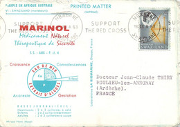 SWAZILAND 1cent Battle Axe Oblitération Mbabane 1963 Sur Carte Postale Marabouts Repiquage Publicitaire Marinol - Swaziland (...-1967)