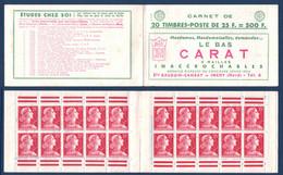 CARNET NEUF ** COMPLET MARIANNE De MULLER 1011 SÉRIE 13 MARGE Avec DOUBLE BARRE ROUGE COUVERTURE CARAT TRICOT - Freimarke