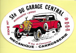 AUTOCOLLANT SOCIÉTÉ GARAGE CENTRAL  - MÉCANIQUE - CARROSSERIE - 10 RUE DE CONSTANTINE LE MANS - VOITURE - AUTOMOBILE - Stickers
