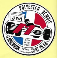 AUTOCOLLANT - STICKER POLYESTER RÉMOIS - J. MOERMAN - AUTO MOTO SPORT - 1 PLACE LÉON BOURGEOIS REIMS - Stickers