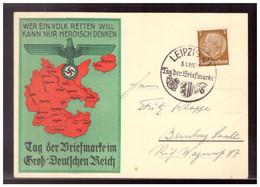 Dt- Reich (021589) Propagandakarte Tag Der Briefmarke Im Groß- Deutschen Reich Mit SST Leipzig 8.1.1939 RS Text - Brieven En Documenten