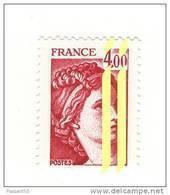 Sabine 4fr Carmin YT 2122c Deux Bandes à Droite + à Cheval GOMME MATE . Voir Scan . Cote YT : 15 € Maury N° 2127e : 13 € - Varietà: 1980-89 Nuovi