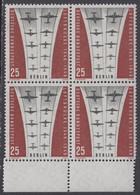 !a! BERLIN 1959 Mi. 188 MNH BLOCK W/ Bottom Margins (displaced Perforation) -Ending Of Berlin Airlift - Neufs
