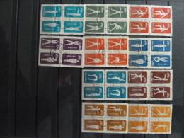 China - 1951 - Physical Training By Radio - Full Set Of 10 Blocks Of 4 Stamps - Used - No Gum - Usati