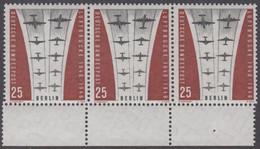 !a! BERLIN 1959 Mi. 188 MNH Horiz.STRIP(3) W/ Bottom Margins (displaced Perforation) -Ending Of Berlin Airlift - Neufs