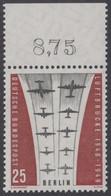 !a! BERLIN 1959 Mi. 188 MNH SINGLE W/ Top Margin (f) -Ending Of Berlin Airlift - Neufs