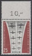 !a! BERLIN 1959 Mi. 188 MNH SINGLE W/ Top Margin (g) -Ending Of Berlin Airlift - Neufs