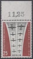 !a! BERLIN 1959 Mi. 188 MNH SINGLE W/ Top Margin (k) -Ending Of Berlin Airlift - Neufs