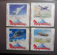4 Buvards Anciens - Biscottes MAGDELEINE  - Avions - Dessins Géo Ham - Transport