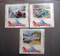 3 Buvards Anciens - Biscottes MAGDELEINE  - Course Automobile - Dessins Géo Ham - Transport