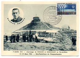 1961--50 Ans Atterrissage De RENAUX Et SENOUQUE (animée,avion)-Sommet Du Puy De Dôme..tp Aéroport De Paris - 1961-....