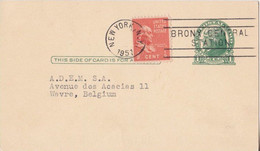 Postal Stationery - Bronx Central Station - New York 1951 Sent To Wavre Belgium - 1941-60