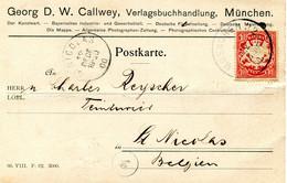 1900 Postkarte From GEORG D.W. CALLWEY Photograph MUENCHEN 32 To Saint Nicolas C/o C. Reychler - - Bavaria