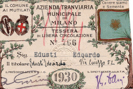 BIGL--00070-- ABBONAMENTO - AZIENDA TRANVIARIA MUNICIPALE DI MILANO - IL COMUNE AI MUTILATI  1930 - Europe
