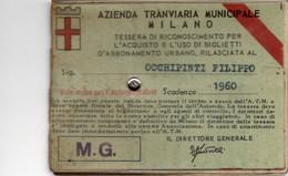 BIGL--00072-- ABBONAMENTO - AZIENDA TRANVIARIA MUNICIPALE DI MILANO - RETE INTERA 1960 - Europe