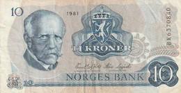 Billet De Banque Usagé. Norvège. 10 Couronnes. 1981. Personnage. Écusson. Bateau. Ouvrier. Etat Moyen - Norway
