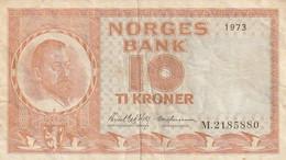 Billet De Banque Usagé. Norvège. 10 Couronnes. 1973. Personnage. Écusson. Bateau. Femme. Etat Moyen - Norway