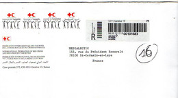 Suisse--Lettre Recommandée De Genève  Pour St Germain En Laye-78 (France)--Croix-Rouge + Croissant Rouge - Marcofilie