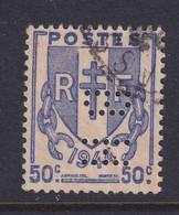Perforé/perfin/lochung France 1945 No 673 BH Benart Et Honorat Mero-Boyveau-Beranger - Perforés