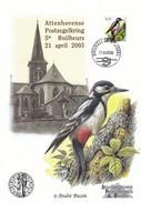 Souv A5 Attenhoven 2003 Met Zegel Bonte Specht En Stempel Bruxelles 21-04-2003 - 1985-.. Oiseaux (Buzin)